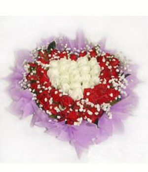 19 white roses, 36 red roses heart-shaped bouquet