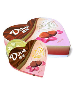 heart message - Dove - chocolate to China