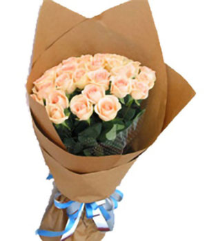 19 Champagne Roses Simple Bouquet