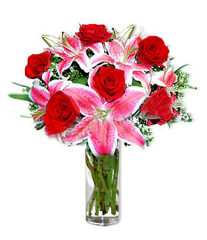 Rose and lilies free with a vase delivered