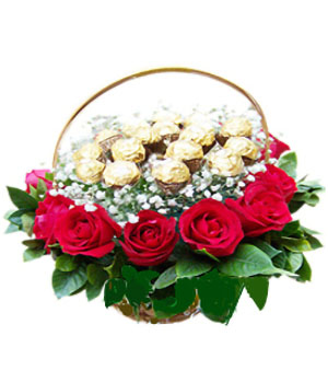 Flower China - flowers with chocolate in basket delivery