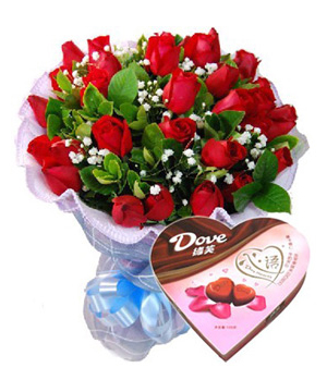 send 21 roses bouquet with chocolate China