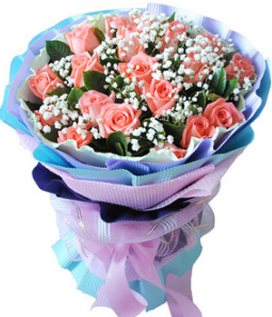 Send 19 pink roses with green in China