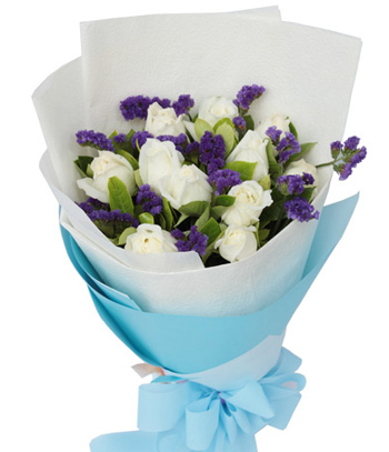 Roses with Forget Me Not Delivering China