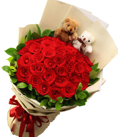 Fun in Love:33 Red Roses Flower Hand Delivered in China