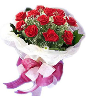Classic 11 red roses bouquet to China