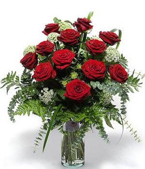12 Red Roses with flower bottle