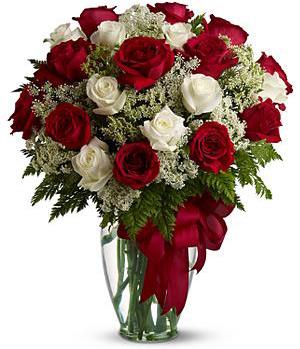 13 red roses, 8 white roses