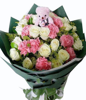 11 white roses,12 pink carnations