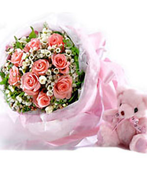 Wholeheartedly, 11 pink roses