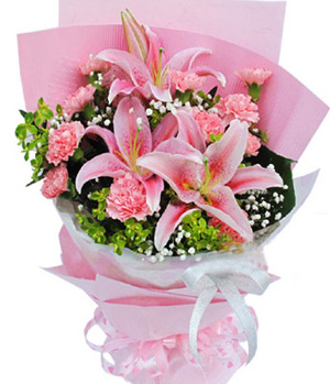pink perfume lilies, pink carnations
