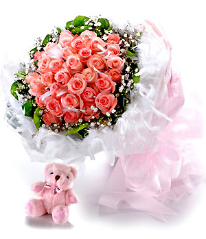33 red roses bouquet free with a small bear