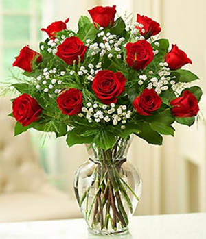 12 red roses with a vase delivered in China