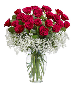 21 Red Roses In A Vase
