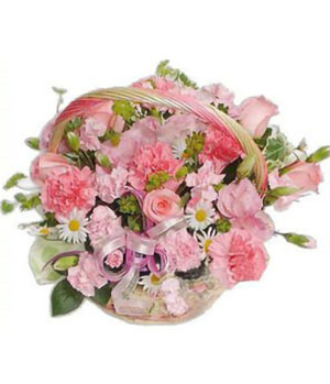 China flowers delivery - Pink color basket