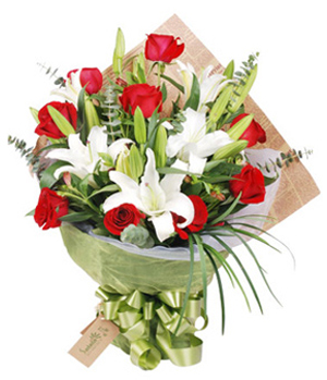 China flowers, lilies with roses