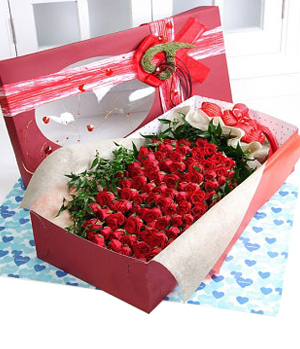 66 Red Roses in Box