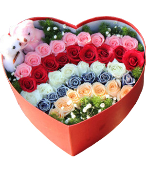 5 color roses in heart-shape box