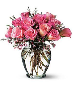 12 Pink Rose Vase