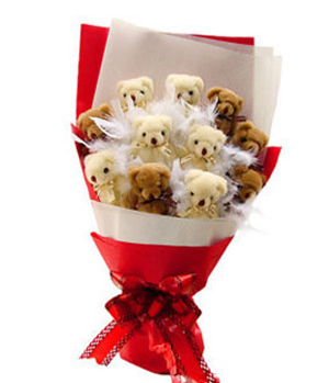 Teddy bear to China - Cute Bear Bouquet