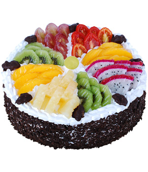 Chocolate Fruit Cake:season Fruit For Birthday Delivery In