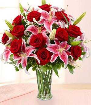 Rose & Lily In Vase