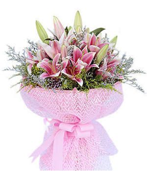 Pink Lilies Bouquet to China