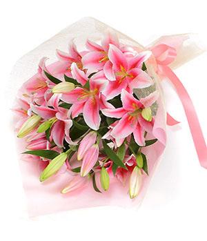 6 stalks pink lilies